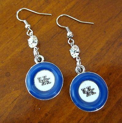 - new! UK WILDCATS UNIVERSITY of KENTUCKY CRYSTAL & BLUE ENAMEL EARRINGS jewelry