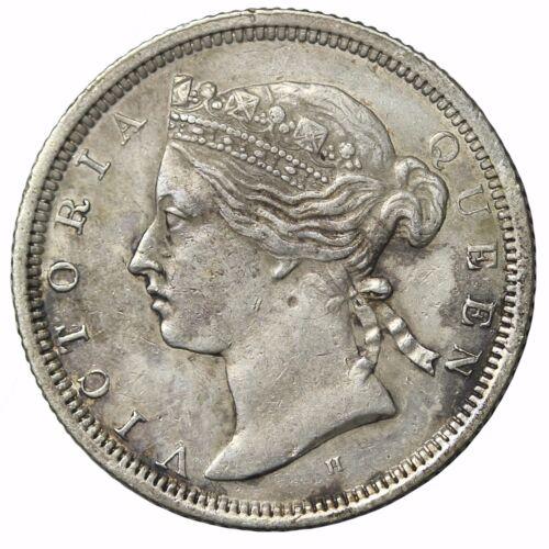 1872-H Key Date Straits Settlements Silver Twenty 20 Cents Queen Victoria KM#12