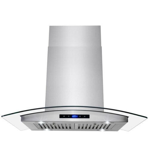 "30"" Island Mount Stainless Steel Tempered Glass Touch Kitchen Range Hood Cooking"