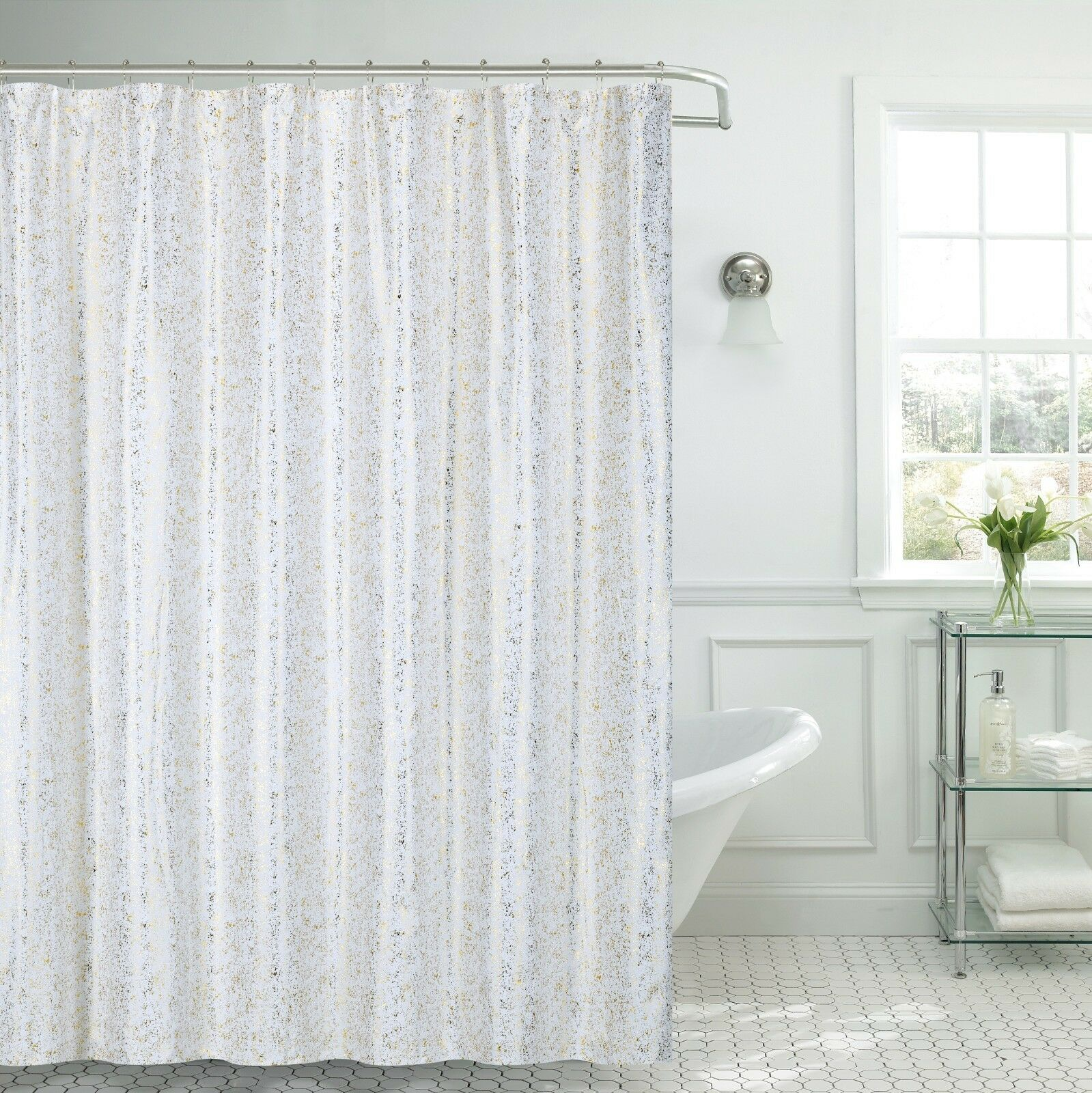 Details About Kendall Gold White Shiny Foil Print Fabric Shower Curtain W Hooks 70x70