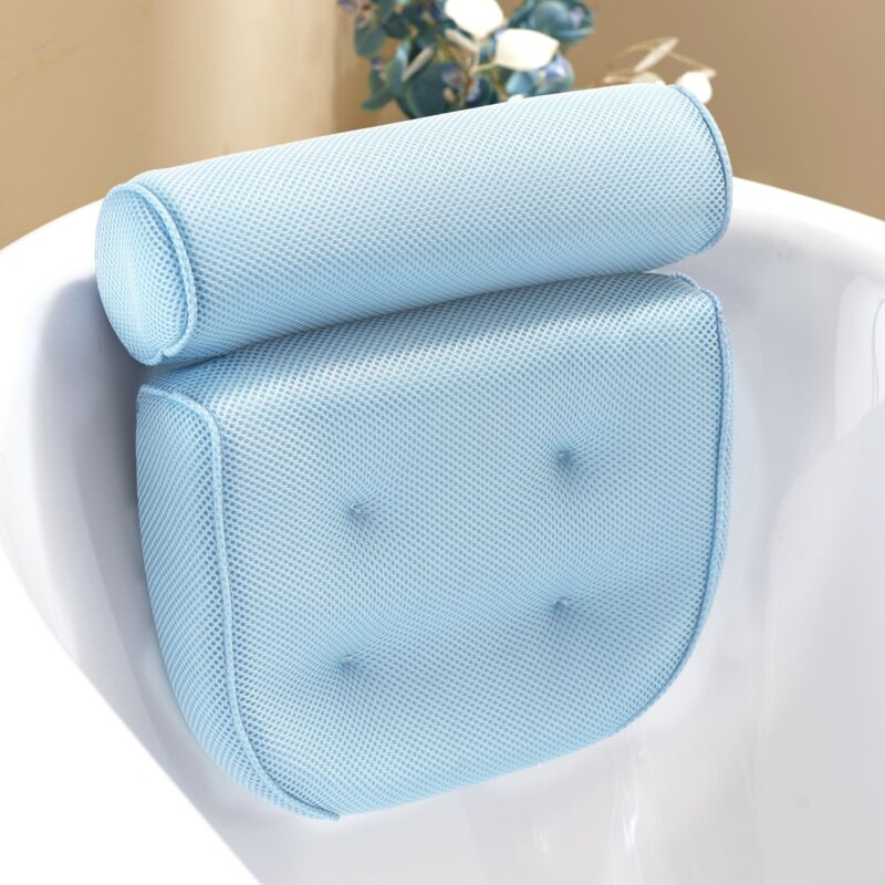 Spa Mesh Bath Pillow with Suction Cups and Quick Drying Design