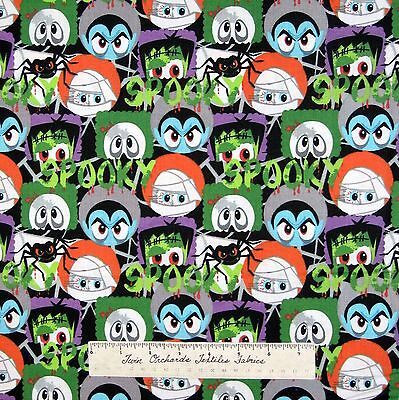 Halloween Fabric - Monster Faces Mummy Skull Frankenstein - AE Nathan YARD