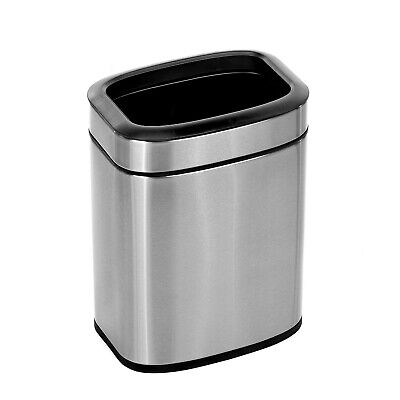 Alpine Industries 1.6 Gal. Stainless Steel Office Commercial Open Top Trash Can