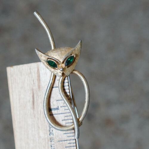Vintage Womens Cat Brooch - Gold Tone Metal Green Eyes Rhinestones Outline Deco