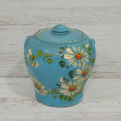 Vintage Ransburg Hand Painted Cookie Jar Pottery Indianapolis 1930s Daisy floral