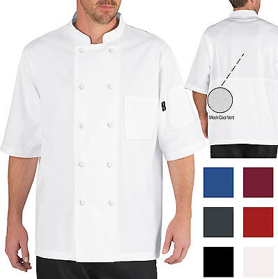 Chef Code Lightweight Cool Breeze Chef Coat Short Sleeve Mesh Vent Inlay Cc105