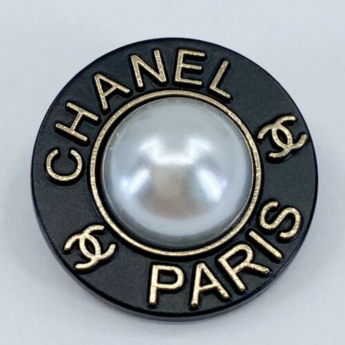 One Authentic CHANEL Button ft. White Pearl & Designer Art, Stamped 23mm Button