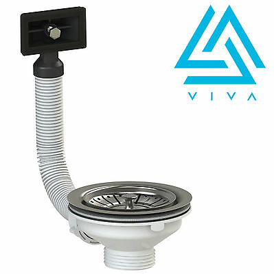 VIVA Stainless Steel Basket Strainer Sink Waste & Plug with SQUARE Overflow- NEW