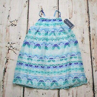 Nautica Toddler Girl Size 4T A-Line Sun Dress Lined Boho Blue Green Sleeveless