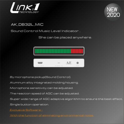 32 Bit MIC Sound Control Level Indicator LED Music VU Meter Light Audio Spectrum