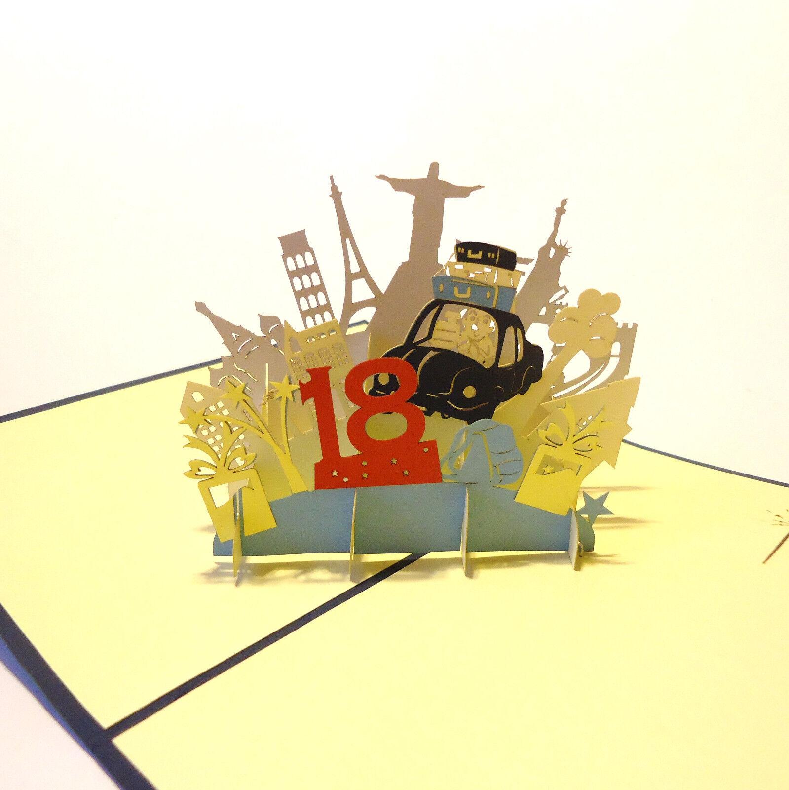 POP UP 3D Klappkarte *18. Geburtstag* Junge, Mädchen Grußkarte, Glückwunschkarte