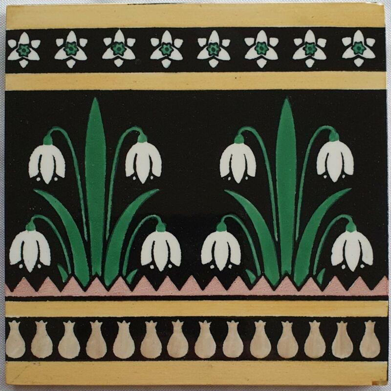 Antique Mintons Snowdrop Tile. (CHRISTOPHER DRESSER)