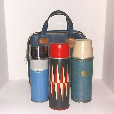 VTG JC Higgins, Universal, Thermos Picnic Car Set Blue Case with 3 Thermoses-USA