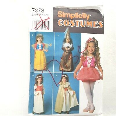 Simplicity 7378 Costumes Pattern Uncut Size A 3 to 8 Little Princess Fairy  (A Little Princess Costume)