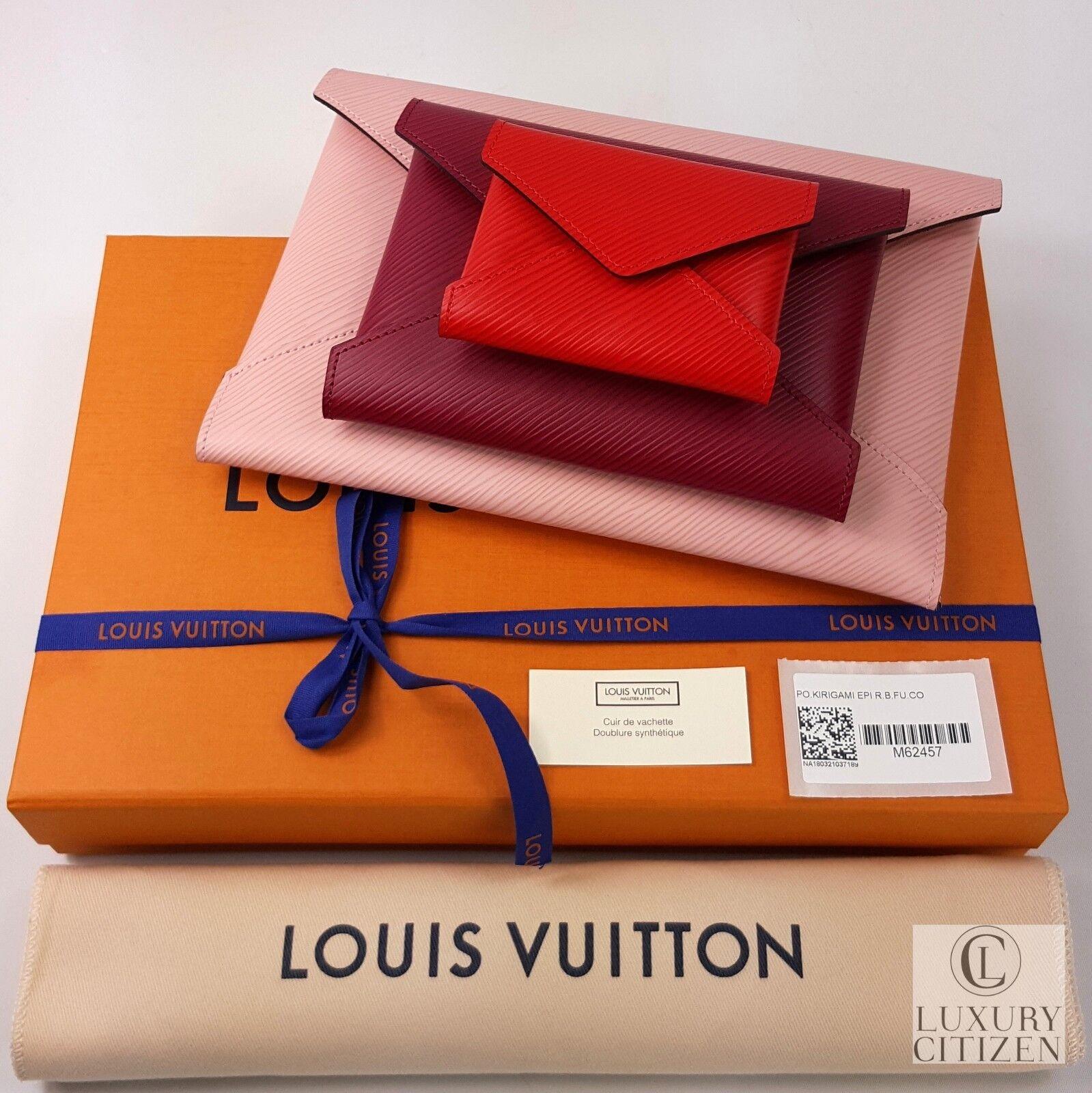 AUTHENTIC NEW LOUIS VUITTON POCHETTE KIRIGAMI EPI LEATHER Pink Wallet Clutch Bag