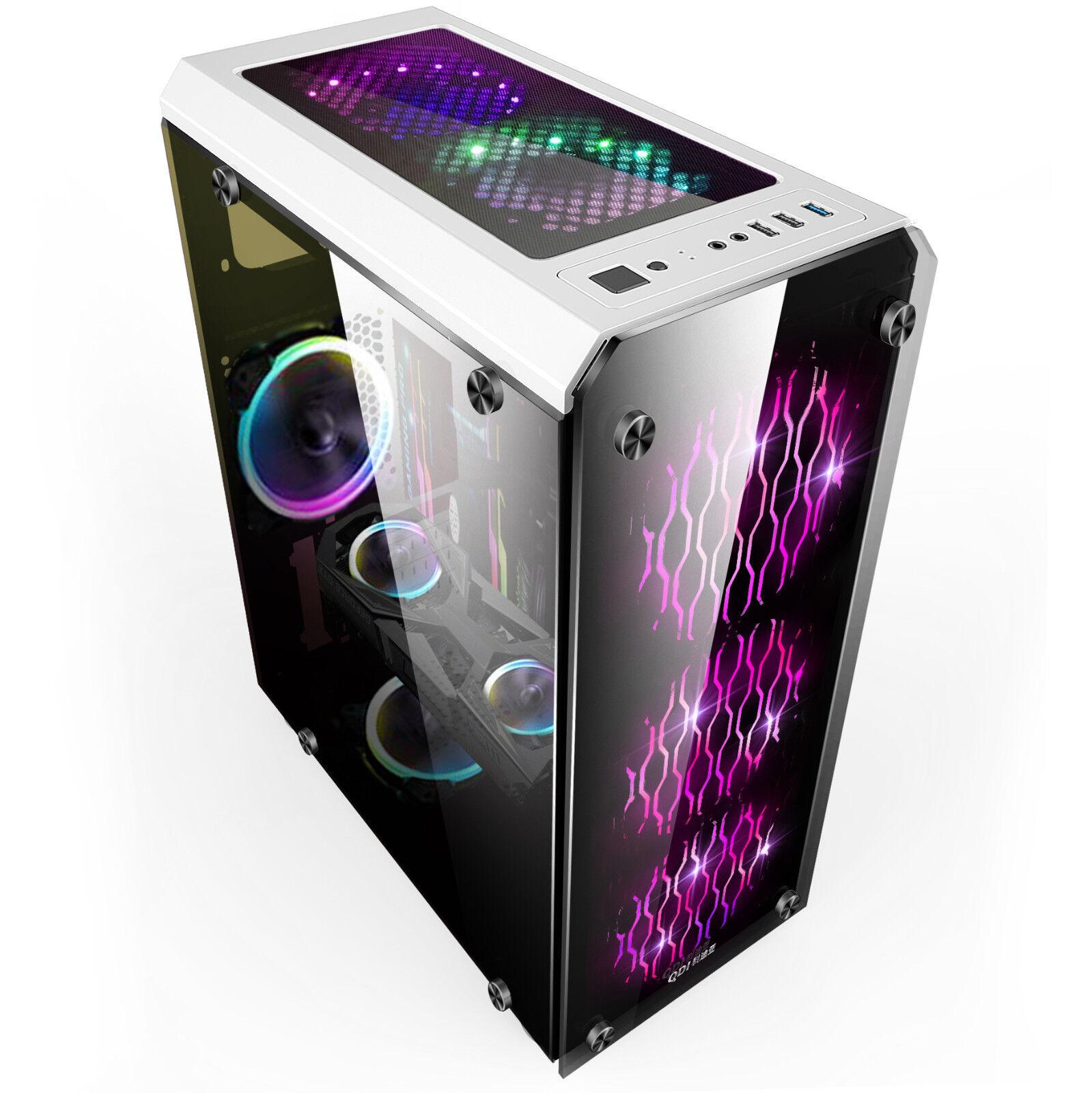 Glas  Pc Gehäuse USB 3.0 ATX ,Micro-ATX,Mini-ITX  Midi-Tower OVP weiss YHJD--w