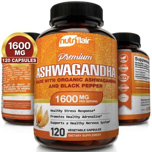 ☀ Organic Ashwagandha Capsules 1600mg 120 Capsules with Black Pepper Root Powder