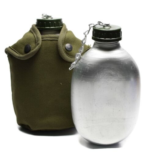French Army Drinking Flask Water Bottle Military Canteen pot cotton pouch OD NEW