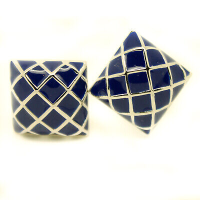 - Blue Silver Colour Cufflinks Check Pattern Square Wedding Cuff Links T Bar