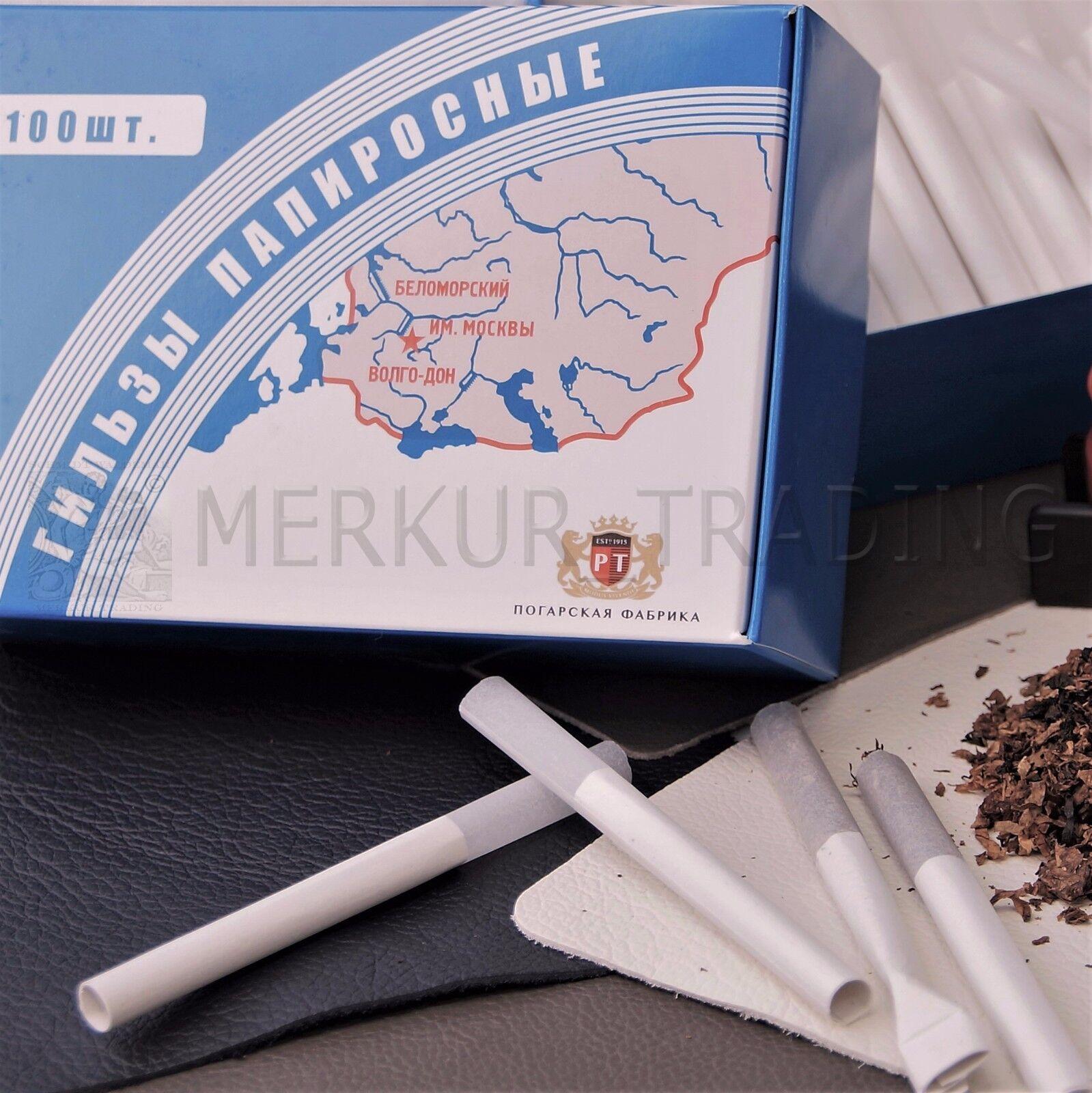 100x Papirossy, Papirossa, Zigarettenhülsen mit Mundstück, Belomorkanal, Belomor