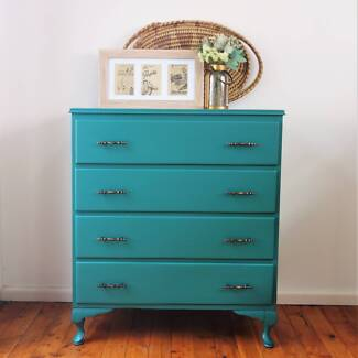 Chest of drawers, dresser, tall boy, painted upcycled, blue green