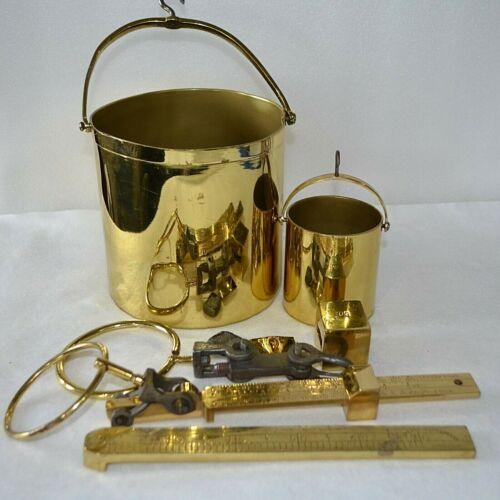Lot Antique FAIRBANKS & Greenleaf Brass Beam Hanging Grain Tester Scale Buckets