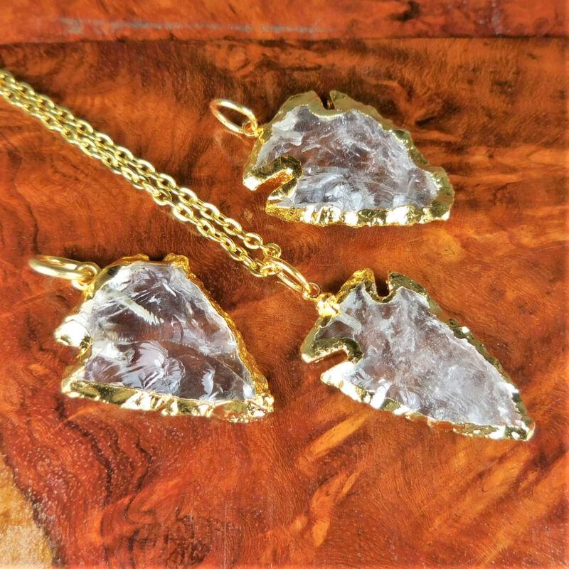 Bulk Wholesale Lot Of 5 Pieces - Quartz Arrowhead Gold Edges - Pendant Charm