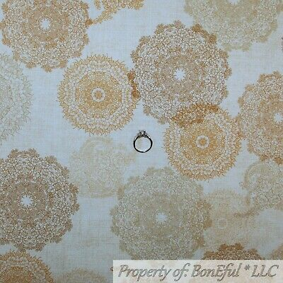 BonEful FABRIC FQ Cotton Quilt VTG Antique Tan Cream Lace Victorian Doily Flower for sale  Richland