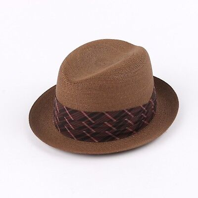 Vtg KNOX c.1950's - 1960's Brown Raffia Plaid Hat Band Homburg Fedora Hat
