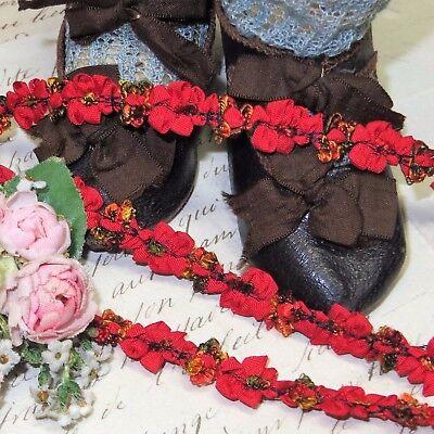 1y VTG FRENCH ROCOCO TRIM ORANGE BOW ROSETTE DOLL DRESS RIBBON Jacquard chenille