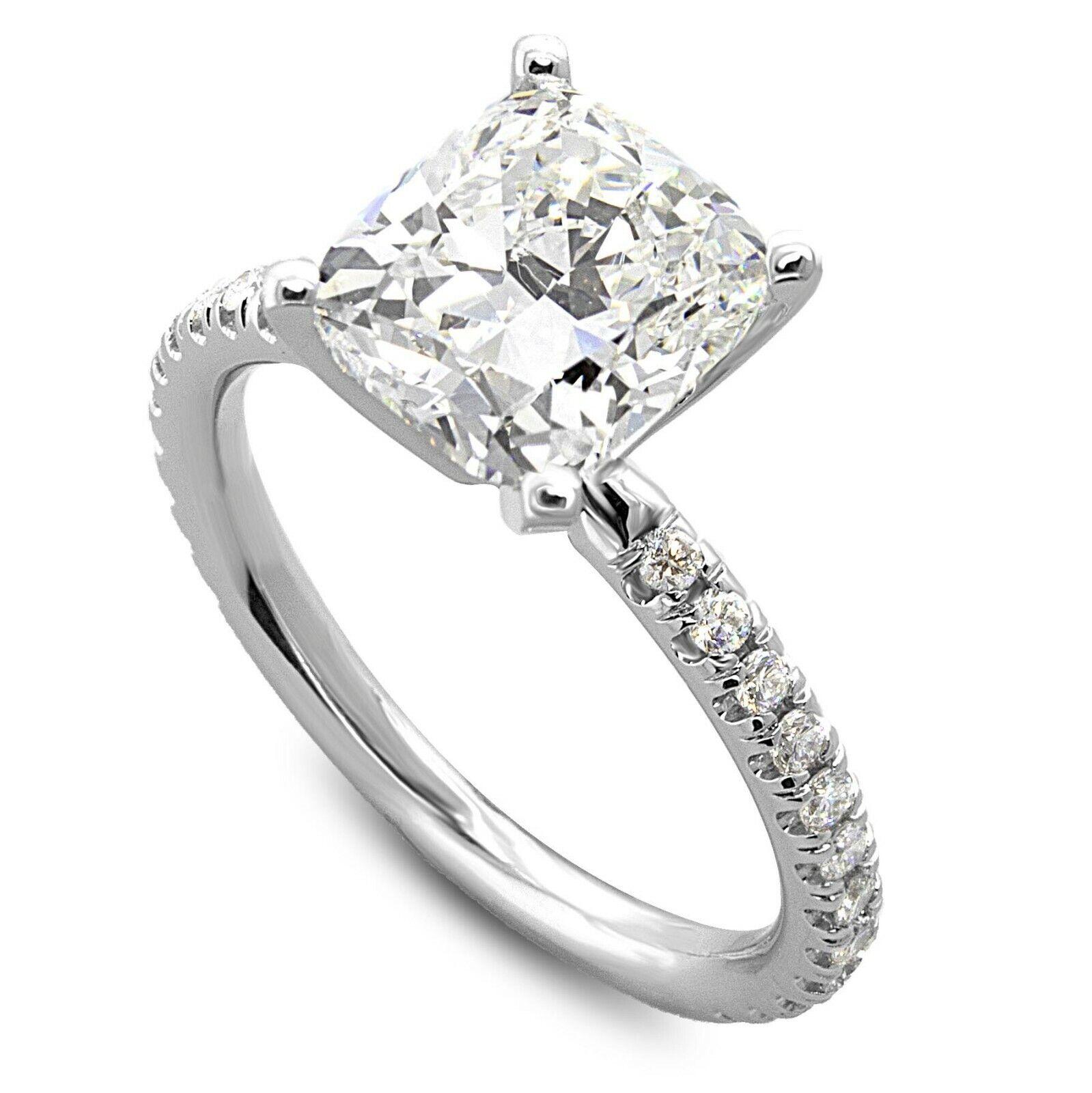 1.75 Carats G-SI1 GIA cert. Cushion Cut Diamond Engagement Ring - 14k White Gold