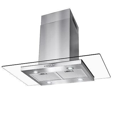 "36"" Island Mount Stainless Steel Tempered Glass Button Panel Kitchen Range Hood"