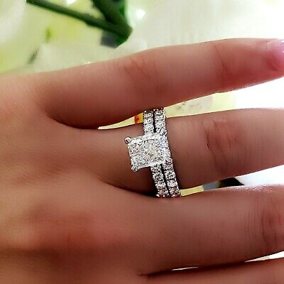 18K WG 2.70 Ct Radiant Cut Diamond Bridal Engagement Ring Set I,VS1 GIA Center