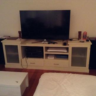 TV unit. Painted in cream beige