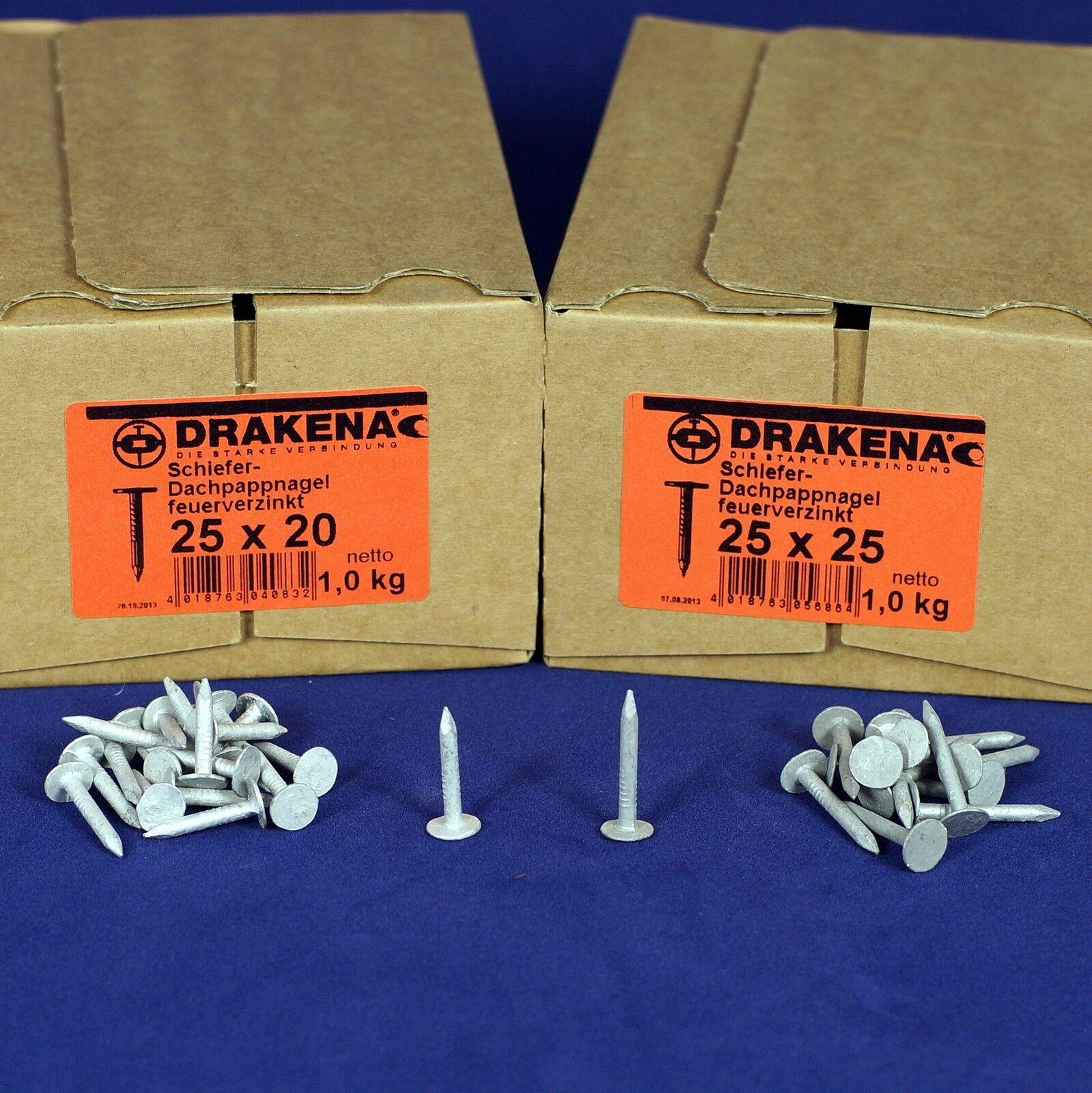 (10,95€/kg) 1 kg Pappnägel 2,5x20 bzw 25 feuerverzinkt Pappstifte Dachpappstifte