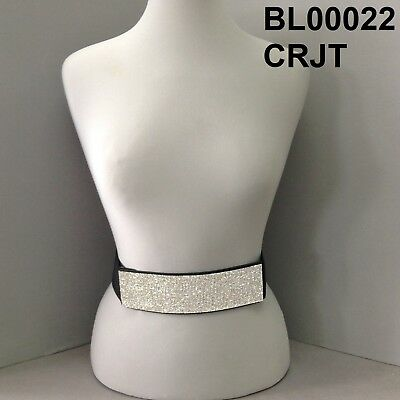 Rectangle Bar Rhinestone Silver Finish Black Stretch Woman's Belt Clip Closure -
