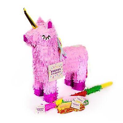 Pinata Rosa (Einhorn Pinata Set, Pinjatta + Stab + Augenmaske, Kinder Geburtstag Spiel)