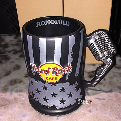 Hard Rock Cafe HONOLULU Hawaii BEER STEIN MUG Music Microphone Handle Bar Glass