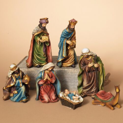 "DELUXE HAND PAINTED 7"" 7 PIECE RESIN NATIVITY SET CHRISTMAS HOLIDAY DECOR"