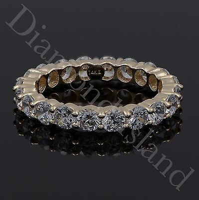 3.0CT Round Brilliant Cut Eternity Wedding Band Ring 14K Yellow Gold Size 6