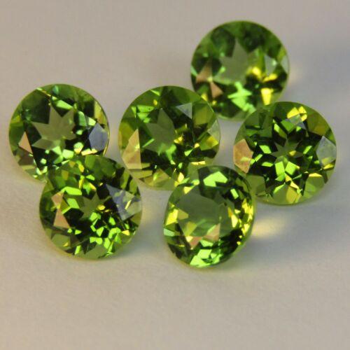 5.30Cts Natural Excelent Green Peritot 6mm Round 6Pcs Loose Gemstones Ref VIDEO