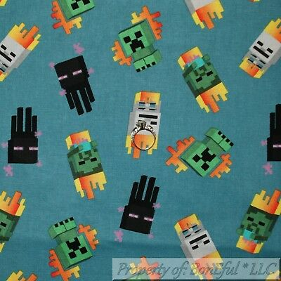 Boneful Fabric Fq Cotton Quilt Minecraft Video Game Mini Mob Us Construction Boy