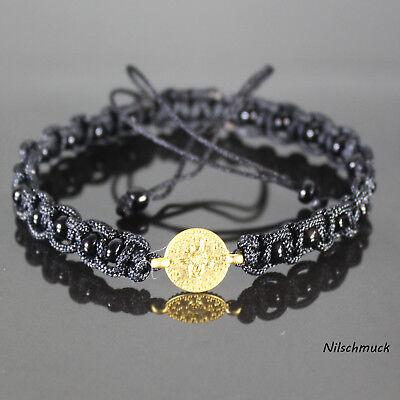 Damen 4mm schwarz Glasperlen Armband/Armschmuck mit 10mm Gold Münze für Frauen ()