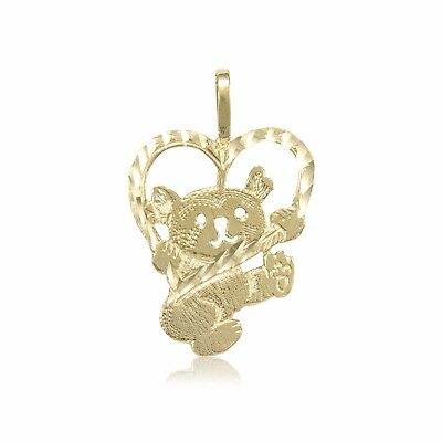 - 14K Solid Yellow Gold Heart Teddy Bear Pendant -Diamond Cut Necklace Charm Women
