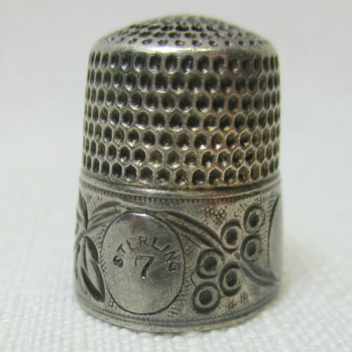 Antique Thimble Victorian Hand Etched Size 7 Sterling Silver - Well Used
