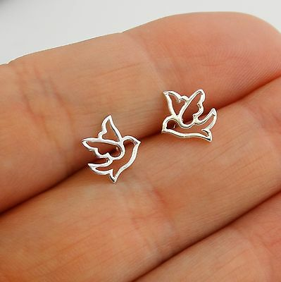 Dove Outline Post Earrings - 925 Sterling Silver - Bird Wings Studs Birds Doves