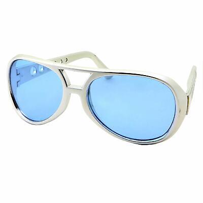 Blue Lens 50's 60 Rock Star Sunglasses Elvis Style Aviator Glasses Mens Costume](Elvis Shades)