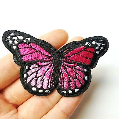 """Pink Monarch Butterfly Patch Iron-On/Sew-On Embroidered Applique, 3"""" Large"""