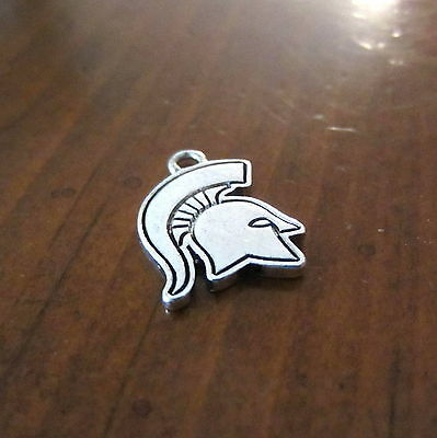 Silver Pewter Msu Michigan State University Spartans Logo Charm Bracelet Jewelry