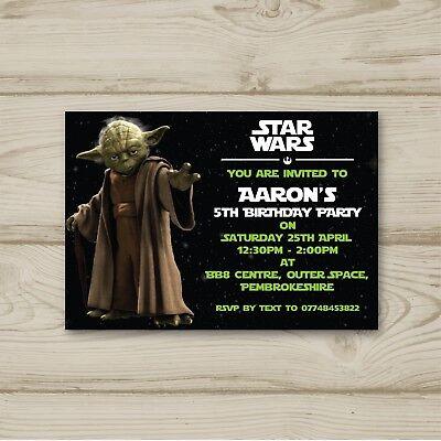 10 Personalised Birthday party invitations Star Wars Yoda Free Envelopes